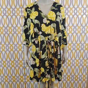 ZARA Ruffle Dress Floral Print V Neck Large